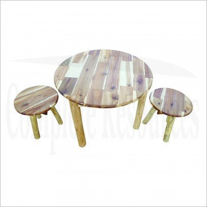 Round Hardwood Table and Stool Set