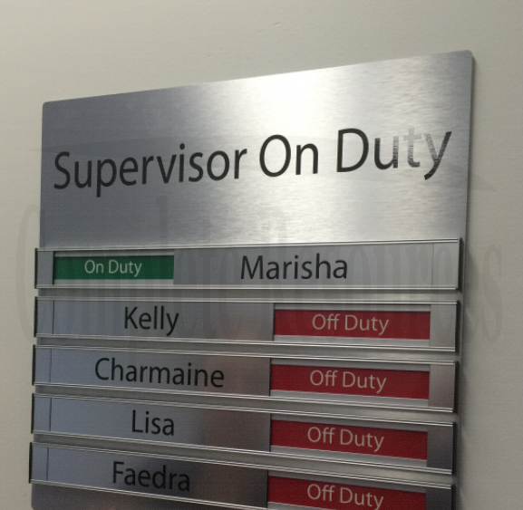 On Duty Supervisor Sign