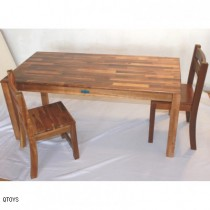 Acacia Hardwood Rectangular Table With 2 Stacking Chairs