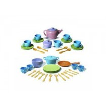 Green Toys Recycled Plastic Tea, Cookware & Dining Set – 41 pieces