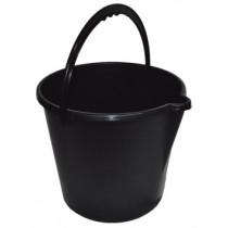 Tough Round Bucket - Black - 9L