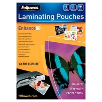 Fellowes 80 Micron A3 Glossy Laminating Pouches (Pk 100)