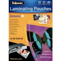 Fellowes 80 Micron A4 Glossy Laminating Pouches (Pk 100)