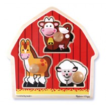 M&D - Barn Animals Knob Puzzle 3 Piece