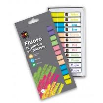 Jumbo Fluor Oil Pastels (12Pk)