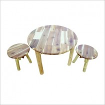 Round Hardwood Table and Stool Set