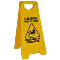 Standard Yellow Warning Sign - Caution wet floor